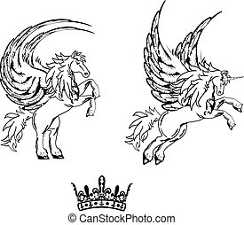 pegasus horse sticker tattoo set8 - pegasus horse sticker...