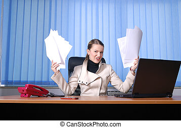 businesswoman holding empty documents - happy young business...