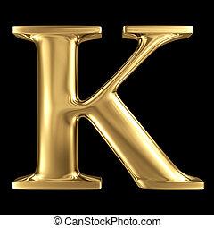 Golden shining metallic 3D symbol capital letter K - uppercase i
