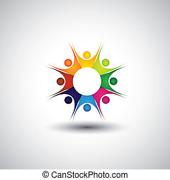 enthusiastic, excited children or kids playing - concept vector