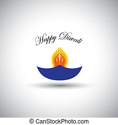 diwali or deepawali lamp with namaste as fire - vector...