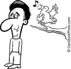 man and bird cartoon coloring book - Black and White Cartoon...