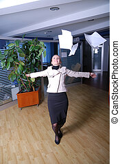 happy businesswoman throwing documents - happy young...