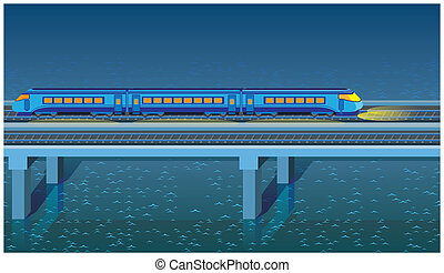 night express train - seamless horizontal stylized...