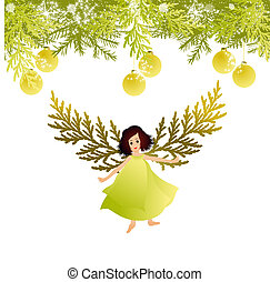 Christmas Angel - Vector illustration of Christmas tree and...