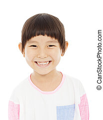 closeup of little girl happy facial expression over white...
