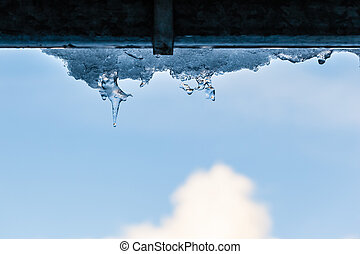 Icicle - close up shot of some icicles hanging from the...