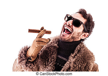 Hustler - a young and rich man wearing a sheepskin coat...