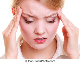 Headache Woman suffering from head pain isolated - Headache,...