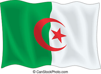 Algerian flag - Waving flag of Algeria