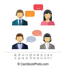 Call center operator with headset web icon. Vector. Male and...