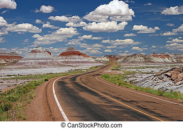 Teepee Rock Formations in Painted Desert National Park -...