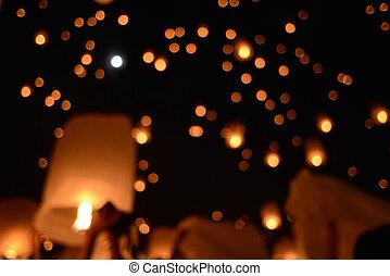 Sky lanterns firework festival,Chiangmai ,Thailand, Loy...