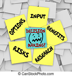 Decision Making Sticky Notes Input Options Risks Benefits...