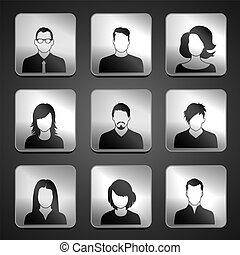 User icons - Set of web user icons. Vector illustration....