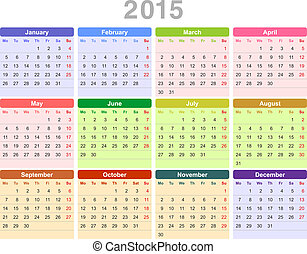 2015 year annual calendar Monday first, English - Color...