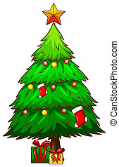 A simple sketch of a christmas tree - Illustration of a...
