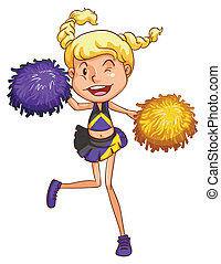 A cheerleader - Illustration of a cheerleader on a white...
