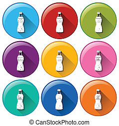 Round icons with softdrinks - Illustration of the round...
