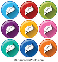 Round icons with leaves - Illustration of the round icons...