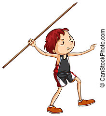 A simple sketch of a boy playing with the stick
