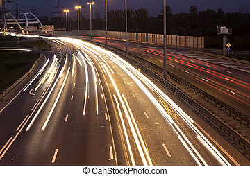 highway with car - Long time exposure on a highway with car...