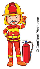 A simple drawing of a fireman - Illustration of a simple...