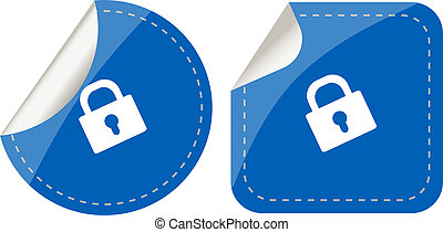 stickers set isolated on white with padlock, security concept