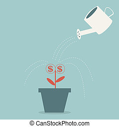 Dollar plant in the pot and watering can. Financial growth concept. Vector illustration.