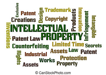 Intellectual Property word cloud with white background