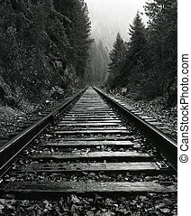 North Idaho Train Tracks - Vertical Black and White Photo of...