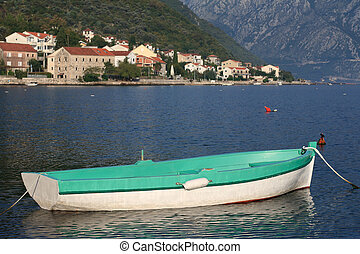Greenfishing boat near the village Stoliv in Montenegro. -...