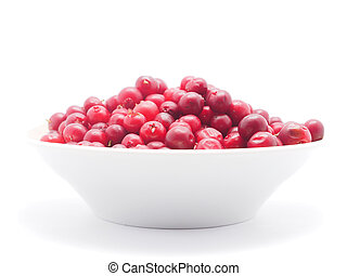 cranberries in a bowl on a white background
