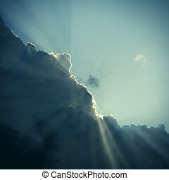 Cloud and Sunlight - Toned photo of Dramatic Cloudscape Area...