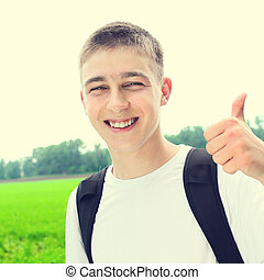 Happy Teenager Portrait - Toned Photo of Happy Teenager...