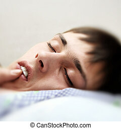 Teenager sleeping - Teenager Sleeping Face Closeup focus on...
