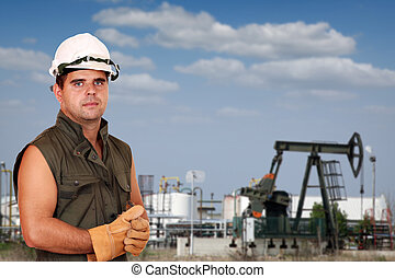 oil worker on oilfield