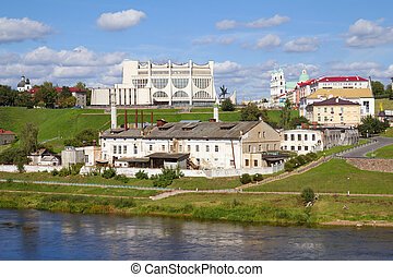 Old plant and Neman river. Grodno, Belarus - Panoramic view...
