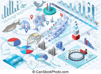 Isometric Infographic Ice Fishing Set - Detailed...