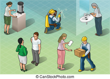 Isometric Services People in Some Positions - Detailed...