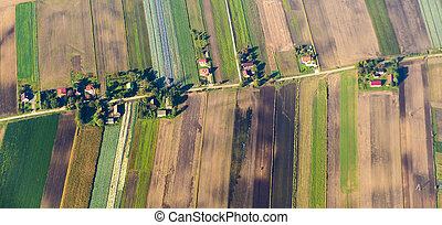 polish farmland near Krakow - aerial of polish farmland near...