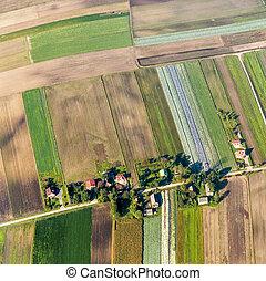polish farmland near Krakow - aerial of polish farmland near...