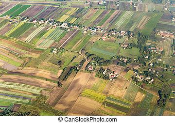 aerial of polish farmland near Cracow