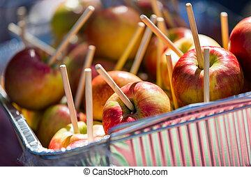 Caramel apples - Fresh picked apples prepared for caramel...