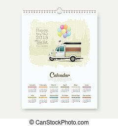 Calendar Vintage motor-tricycle - Calendar 2015, Vintage...