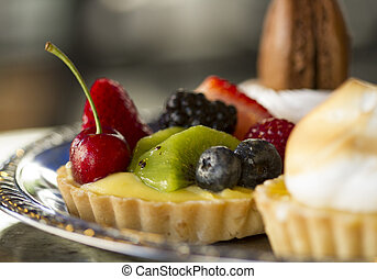 Fruit Tart Tray - Horizontal Photo of a Silver Fruit Tart...