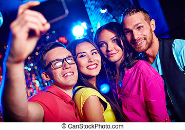 Selfie at party - Young friends taking selfie
