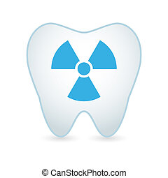 Tooth icon with a radioactive sign - Illustrationof an...