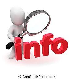 3d Little man looks at info through a magnifying glass - 3d...