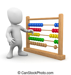 3d Little man with an abacus - 3d render of a little person...